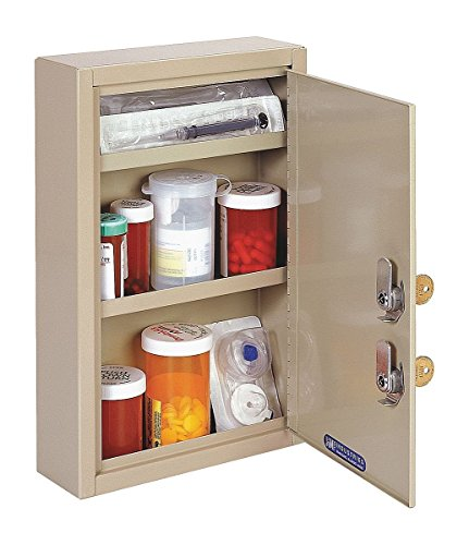 MMF Industries Compact Locking Medicine Cabinet, 12.13 x 8 x 2.63 Inches, Sand (2019035D03)