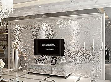 Xefeel Silber Stereoskopisches 3D VERKLEIDUNG Vlies Tapete Wohnzimmer  Hintergrund