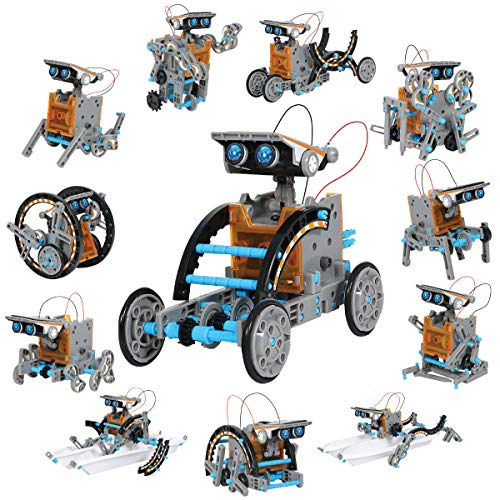 DISCOVERY KIDS Mindblown STEM 12-in-1 Solar Robot Creation 190-Piece Kit with Working Solar Powered Motorized Engine and Gears, Construction Engineering Set -