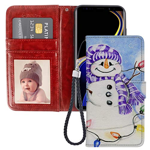 (Dewei Wallet Case for Samsung Galaxy Note 9 Christmas Snowman Pattern with Kickstand Wrist Strap and Card Slots Flip Folio Case for Samsung Galaxy Note 9)