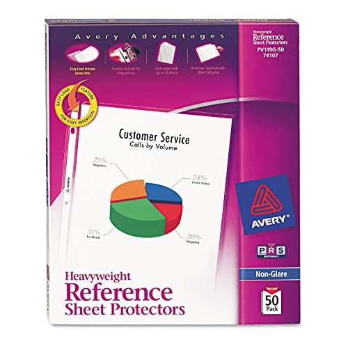 Avery 74107 Top-Load Poly Sheet Protectors, Heavy Gauge, Letter, Nonglare (Box of 50)