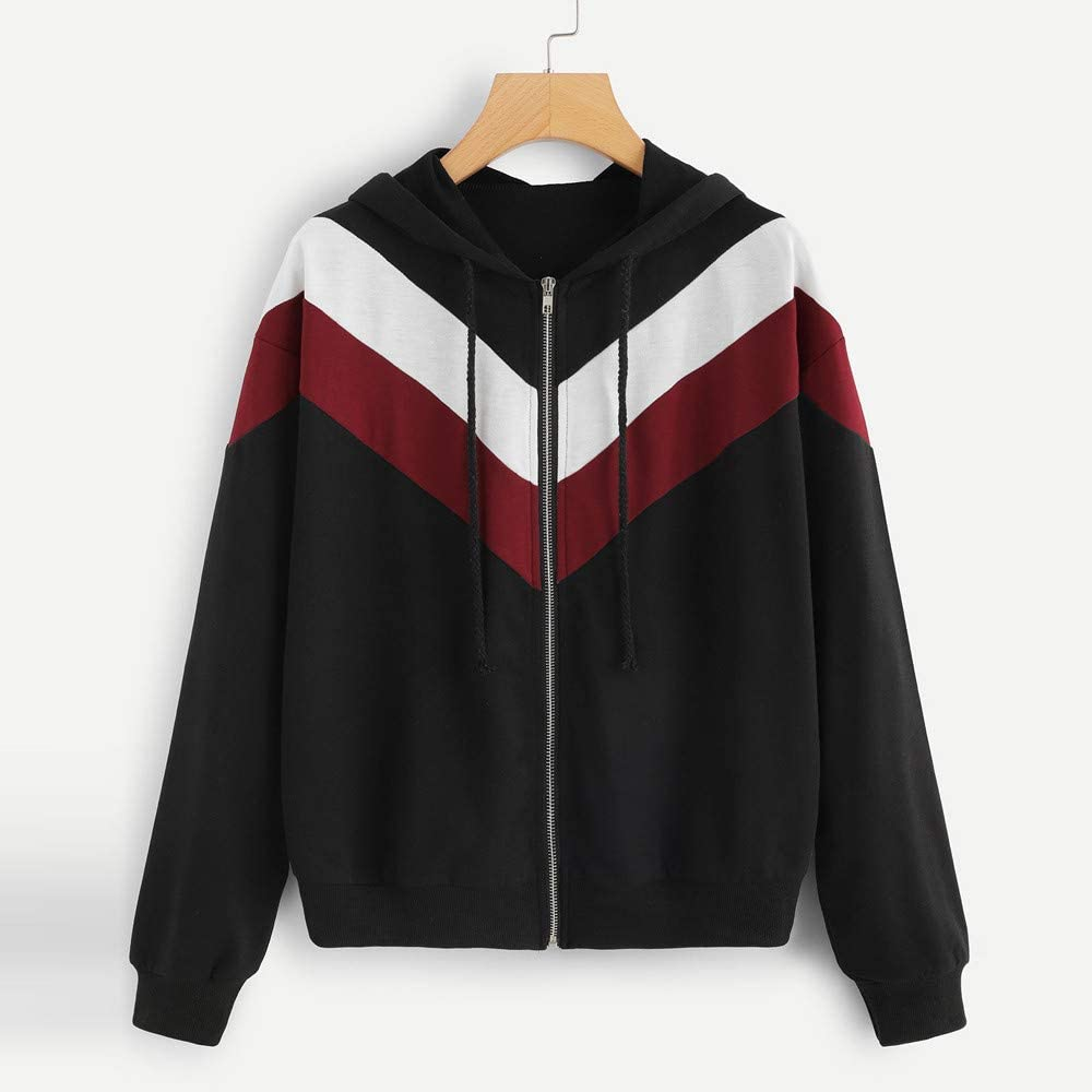 Women Long Sleeve Color Patchwork Thin Hooded Zipper Casual Sport Coat Black