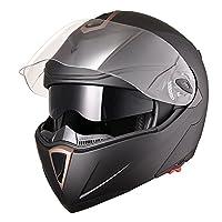 Yescom Full Face Flip up Modular Motorcycle Helmet DOT Approved Dual Visor Motocross Matt Black M by Yescom