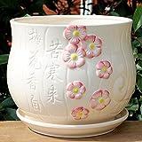 Ceramic Color White Home/ Garden Flower Planter Pot with Saucer Tray – Outside Plum Blossom Design For Sale