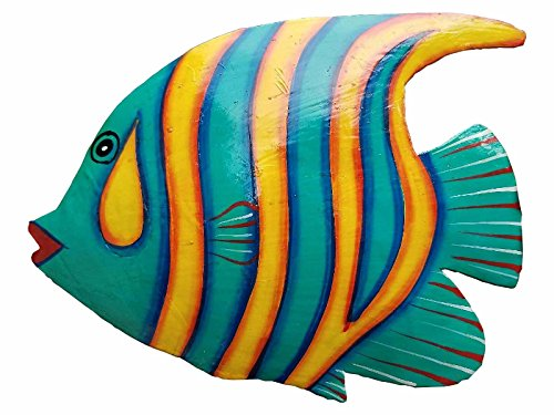 Hand-chiseled and Painted Tropical Metal Art Wall Decor Fish