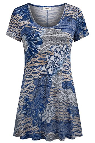 BEPEI Flowy Tunics for Women,Floral Printing Ruffled Figure Flattering Aline Blouse Easy Fit Stretch Smock Tops Athletic Workout Not See Through Shirt Blue Beige X-Large