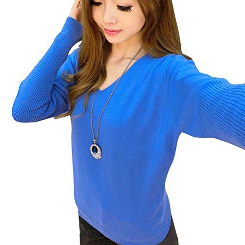 Chaud shirt Basique V Femme Sweat En Pullover Pull Laine Automne blue Col Longues en Manches Hiver Tricot ffqTPOnw
