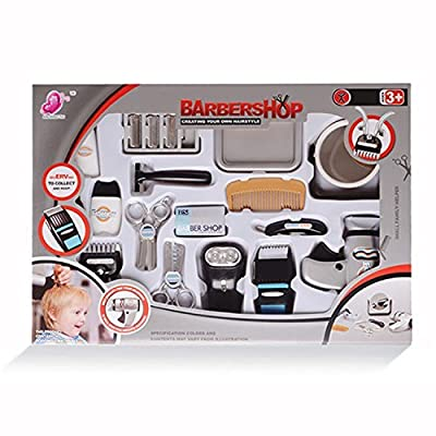 wps Play Accessories Barber Shop Salon Hairstyle Play Set Kit with Shaver Mirror Clipper 17in1 for Boy Kids Gift: Toys & Games