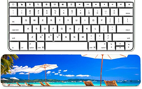 Luxlady Keyboard Wrist Rest Pad Long Extended Arm Supported Mousepad IMAGE ID: 25361313 Beach chairs on exotic tropical white sandy (Best Luxlady Mousepad Beach Chairs)