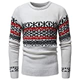 kaifongfu Men Sweater for Autumn and Winter with Printed Knit Pullover Tops(White,XXL)