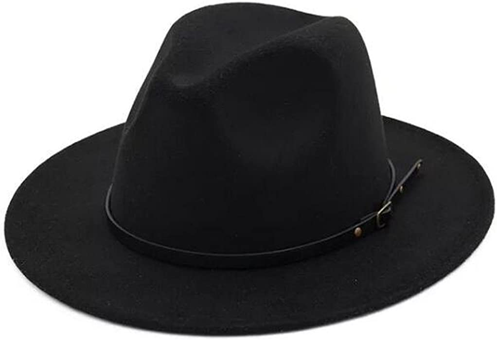 6f2ebca78b3 Lanzom Womens Classic Wide Brim Floppy Panama Hat Belt Buckle Wool Fedora  Hat (One Size