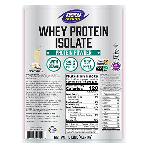 Now Sports Nutrition, Whey Protein Isolate Powder, Creamy Vanilla, 10-Pound