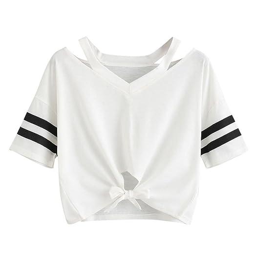 892e442620a4 Striped Crop Tops for Women, Teen Girls Knot Front Short Sleeve Summer T  Shirts Casual