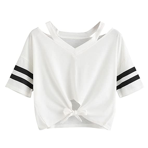 Tops Mujeres Camisetas,Dama Sexy Floral Cuello en O Blusa Tiras Camisola Chaleco Camiseta con