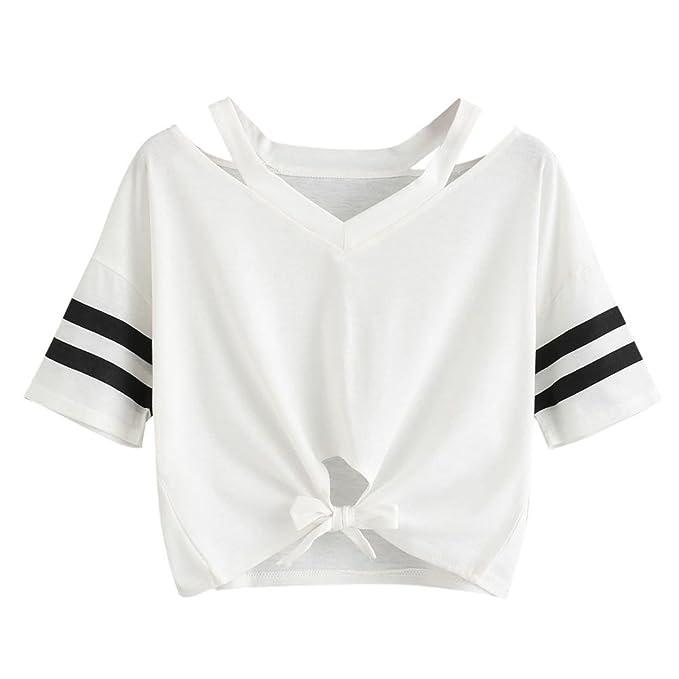 Damen Sommer T-Shirts Riemen Rundhals Tie up Kurzarm Crop Top Saum Streifen  Shirt Junges efa34344a5