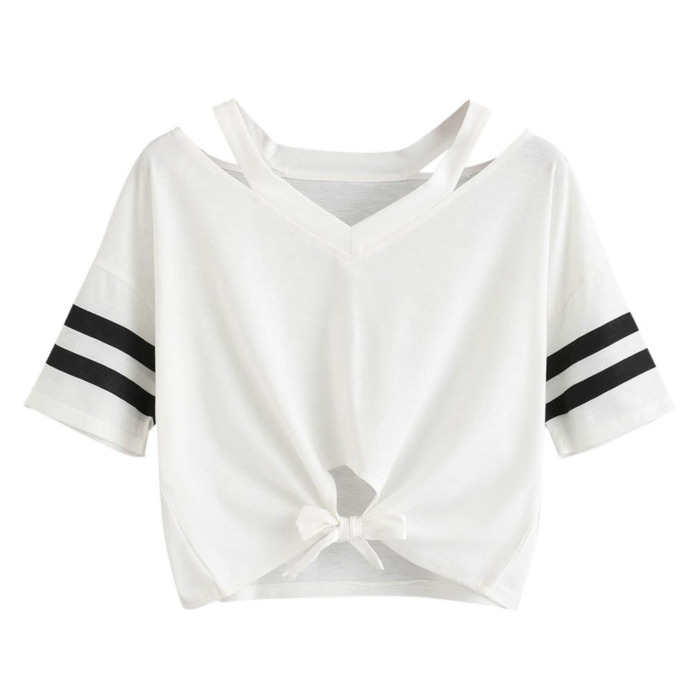 Women's Summer Crop Top Cute Knot Front Casual Solid Stripe Tee T-Shirt (S, White)