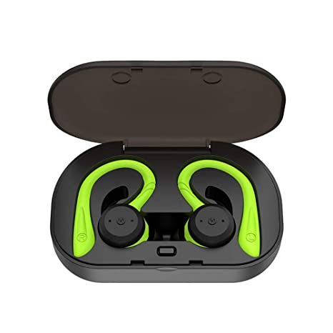 CYBORIS Bluetooth 5.0 Headset TWS Dual Headset True Wireless IPX7 Waterproof with Ear Hook in Ear Noise Canceling Headphones  Green