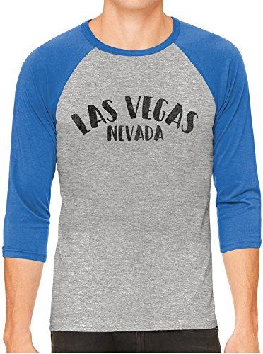 Unisex Mens City of Las Vegas Nevada 3/4 Sleeve Grey Baseball T-Shirt, Royal Sleeves, XS