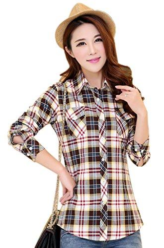 Femme Xiang Chemise aux Longues Casual Caf Manches Blouse Carreaux Ru Slim qww06R