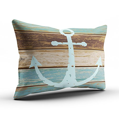 Fanaing Bedroom Custom D¨¦cor Nautical Anchor Weathered Wood Coastal Themed Pillowcase Soft Zippered Brown Aqua Mint and Turquoise Pillow Case Fashion Design One-Side Printed Standard 20x26 Inches by Fanaing (Image #2)