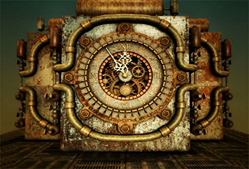 AOFOTO 10x7ft Rusty Steampunk Backdrop Grunge Vintage Clock Photography Background Old Steam Pipes Kid Baby Adult Boy Girl Man Artistic Portrait Retro Party Decor Photo Studio Props Wallpaper from AOFOTO