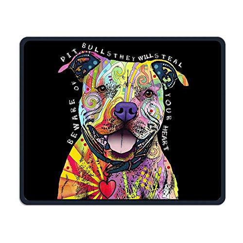 Mouse Pad Colored Pitbull Rectangle Rubber Mousepad Length 8.66 Width 7.09 Inch Gaming Mouse Pad with Black Lock Edge