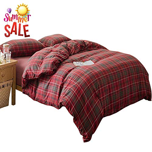 LifeTB Red Grid Plaid Duvet Cover Set Queen 3 Piece Flannel Feel Cotton Bedding Set Full Warm Soft Reversible Checkered Duvet Comforter Cover Set Modern Soft Cotton Bedding Collection (Duvet Cover Queen Red Flannel)