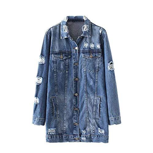 Jacket Femme Printemps Automne Longues Outerwear Fashion Vintage Casual Costume lgant Branch Hipster Jean Vestes Unicolore Manches Longues Dchir avec Multi-Poches Bouton teint Coat Manteaux Blau-b