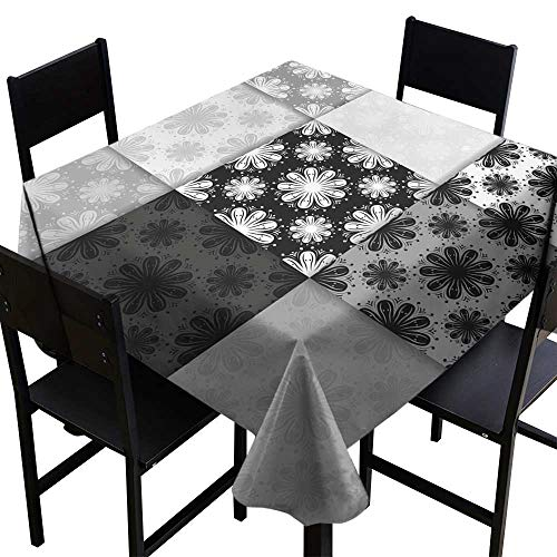Warm Family Wrinkle Resistant Tablecloth Seamless Pattern with Flower Element Black and White Abstract Wallpaper for Kitchen Dinning Tabletop Decoration W50 x L50