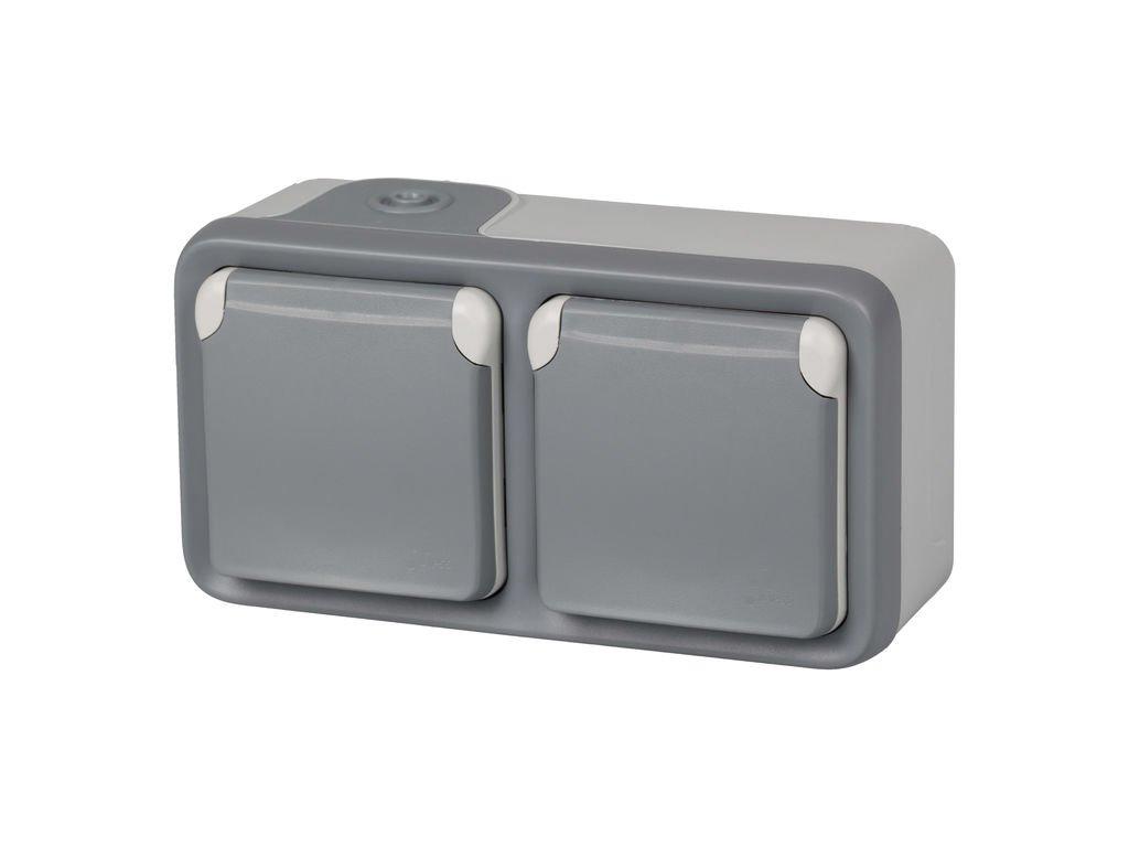 191505 Plexo color gris IP55 resistente al agua Legrand enchufe exterior doble enchufe estanco de superficie de la gama Plexo Enchufe de pared doble