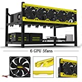 6 GPU Open Air Mining Rig Aluminum Stackable Frame Miner Case With 5 Fans for Ethereum(ETH)/ETC/ ZCash Bitcoin,and Altcoins Unassembled to Improve GPU Performance