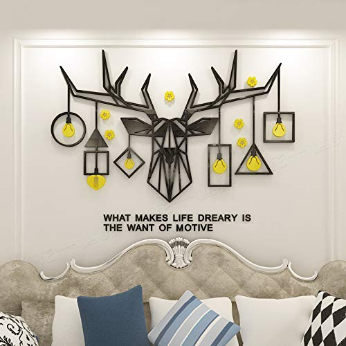 KINBEDY Acrylic 3D Wall Stickers Black and Yellow Designed Deer Wall Decal Easy to Install &Apply DIY Decor Sticker Home Art Decor Wall Murals for Living Room.