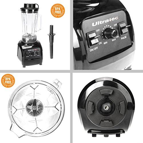 Ultratec Power Mixer Batidora de Vaso de 2 litros/sin BFA / 1500 W / 32 000 RPM / 6 Cuchillas de Acero Inoxidable/con majadero, 900, plástico, ...