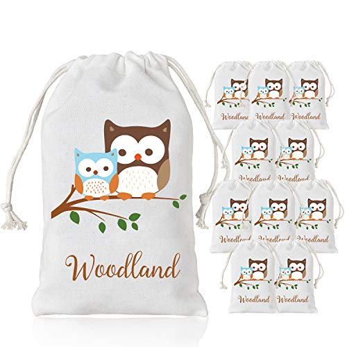 Woodland Party Supplies Favor Bags Baby Shower Birthday Candy Gift Goody Bags Owl Design 5 x 8 inches 10 Pack -