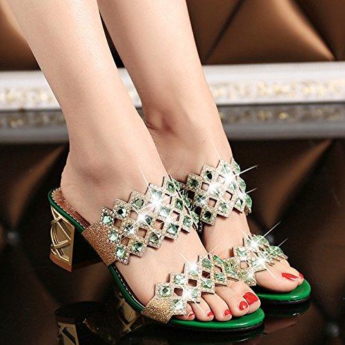 Green Scarpe Tacco Xing Estate Coreano Donna Diamond 35 Da Guang 36 Sandali Ritaglio Medio Con In red Pantofole Fancy Novità Strass HpPpqFxn