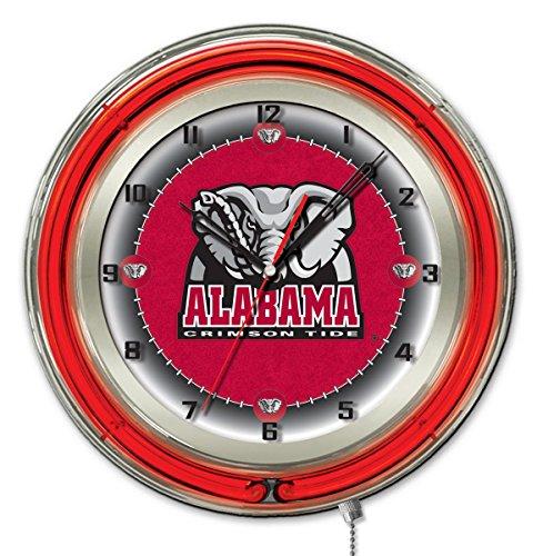 Holland Bar Stool Co. Alabama Crimson Tide HBS Neon Red Elephant Battery Powered Wall Clock (19