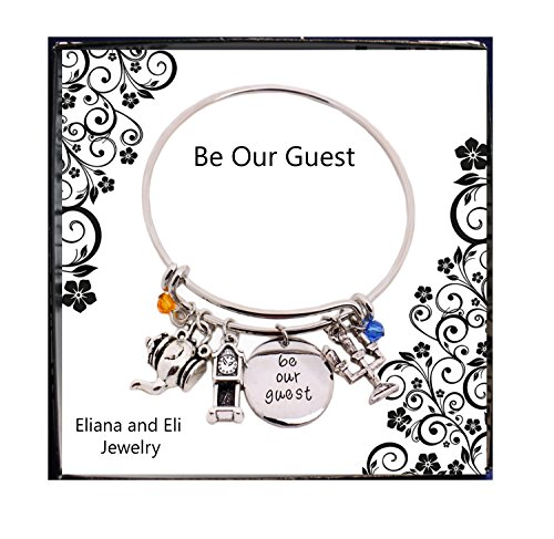 Beauty and the Beast Message Expandable Silver Bangle Bracelet Be Our Guest Pendant with Pendulum,Candlestick Charms Bangle Bracelet for Halloween Disney Mommy & Me Stainless Steel -