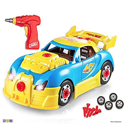 Take Apart Racing Car Toys - Build Your Own Toy Car with 30 Piece Constructions Set - Toy Car Comes with Engine Sounds & Lights & Drill with Toy Tools -