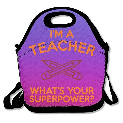 I'm A Teacher, What's Your Superpower Purple Lunch Bags Insulated Travel Picnic Lunchbox Tote Handbag With Shoulder Strap For Women Teens Girls Kids Adults
