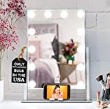 REBEL POPPY Vanity Mirrors with LED Lights - Phone Mount, 3 Lighting Touch Control, 18.5' x 14.8', Fogless - Hollywood Lighted Makeup Mirror - Silver