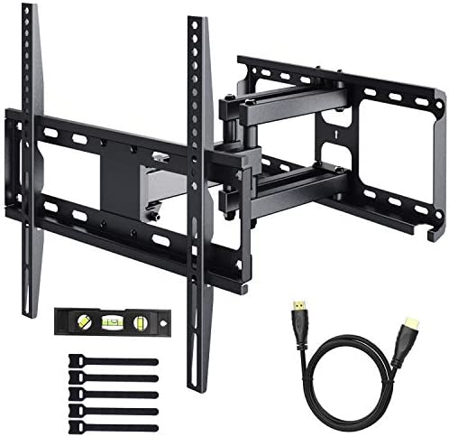 PERLESMITH TV Wall Mount Bracket Tilts, Swivels, Extends – Full Motion Articulating TV Mount for 26-55 Inch LED, LCD, Plasma Flat Screen TVs up to 99lbs Max VESA 400×400