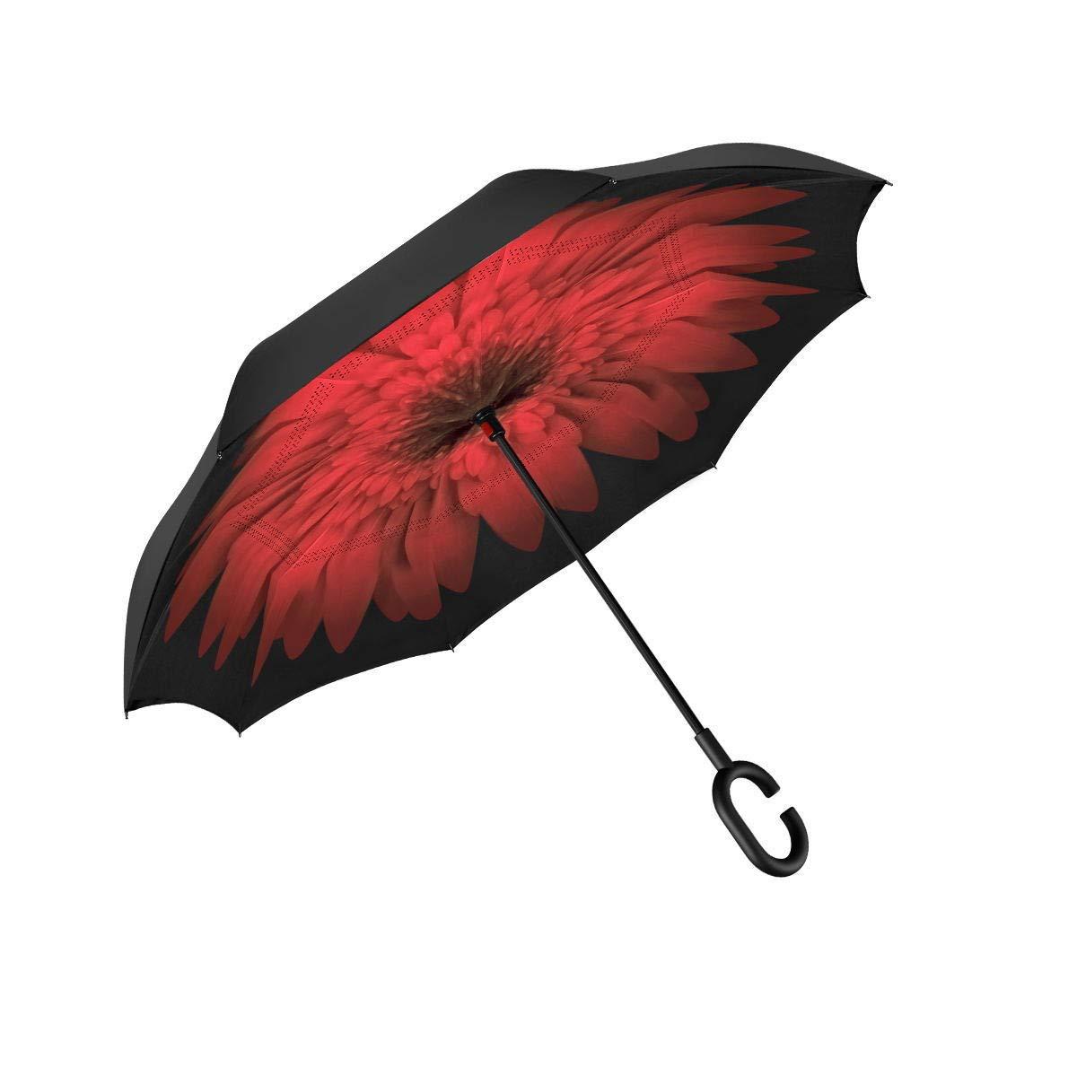 JNH サンシャイン 反転傘 二層 防風 逆折りたたみ傘 車やアウトドア用 防水 UV保護 大きなストレート傘 C型ハンドル 雨傘なし 女性や男性へのギフトに  Red Daisy B075DCW7Y8