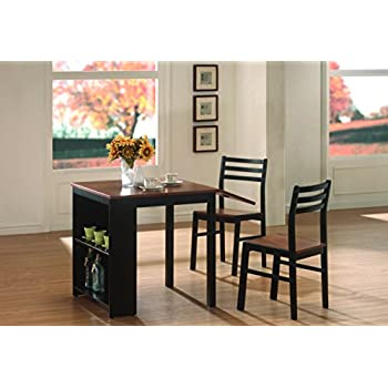this item coaster home furnishings 130015 casual dining room 3 piece set walnut and black - Dining Room Items
