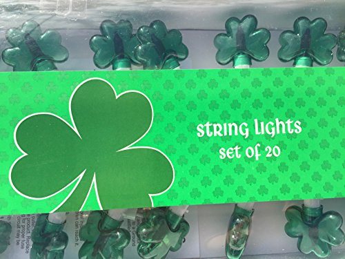 St Patricks Day String Lights - St Pattys Day - Shamrock Lights - Large Set of 20 Bright Green Shamrocks Brings Tons of Fun To Any St Pattys Day Event - String Lights - St Pattys Day Decorations ()