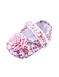 Zhengpin Baby Girls Infant Bowknot Shoes PU Leather Floral Shoes Princess Walking Shoes