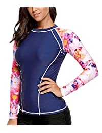 FEOYA Womens Long Sleeve Rashguard Top Print Swimsuit Surfing Swimwear
