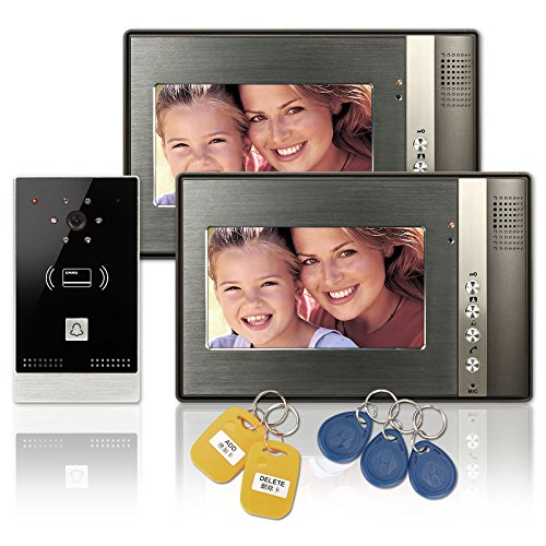 Wired-7-inch-LCD-Color-Video-Door-Phone-Intercom-Doorbell-1-Camera-2-Monitor-RFID-Access-Control-Security-Entry-System