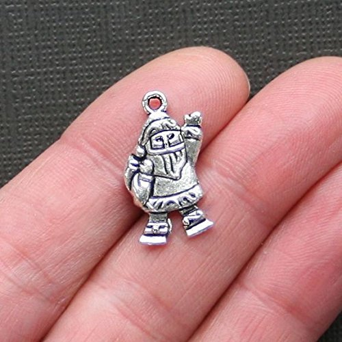 8 Santa Charms Antique Silver Tone - XC001 - Jewelry Accessories Chain Bracelet Necklace Pendants