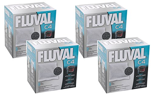C4 Carbon (Fluval C4 Carbon - 12 Filters Total (4 Packs with 3 Filters per)