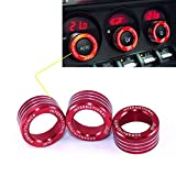car ac knobs - 3x AC Knob Control Volume Red Cover Rings Trim for Subaru BRZ GT86 FT86 FR-S
